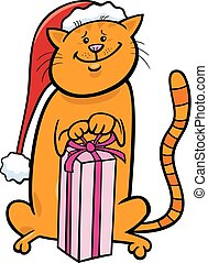 cat with Christmas gift cartoon
