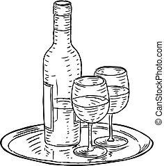 Wine Bottle and Glasses Vintage Woodcut Style