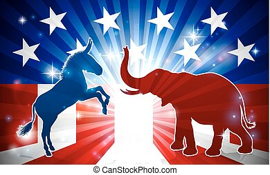 Elephant and Donkey Mascots Silhouettes - An elephant and...