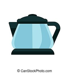 Small blue kettle - Vector illustration of black and blue...