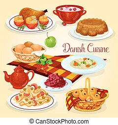 Danish cuisine healthy lunch dishes cartoon icon. Fish pasta...