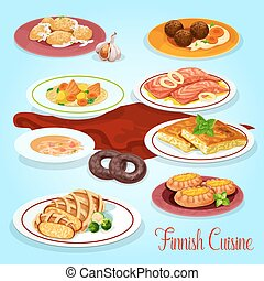 Finnish cuisine dinner dishes icon for menu design - Finnish...