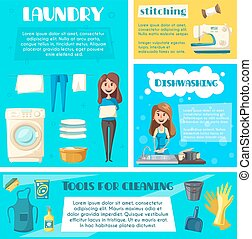 Housewife doing household chores banner template