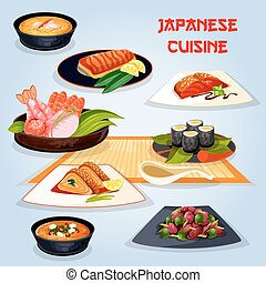 Japanese cuisine popular dishes for lunch icon - Japanese...