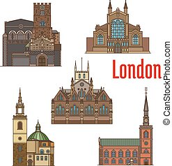 London travel landmark of british church icon set - London...