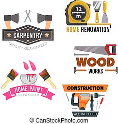 Work tool and hardware cartoon symbol set