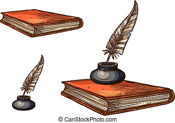 Book with old feather pen and inkwell sketch