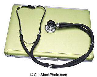 Medical Records Conceptual Image with Stethoscope Isolated...