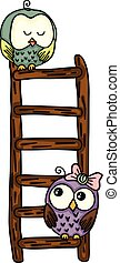 Cute owls on top of ladder - Scalable vectorial image...