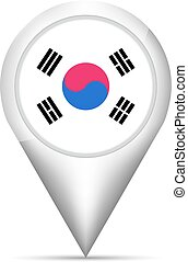 South Korea flag map pointer with shadow. Vector illustration