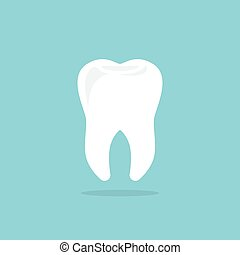Tooth icon with shadow. Flat design style. Tooth silhouette