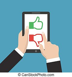 Website rating feedback and review concept. Hand holding and pointing to a tablet with like and dislike hand sign button on the screen