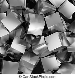 Abstract background from metallic cubes. 3D illustration.