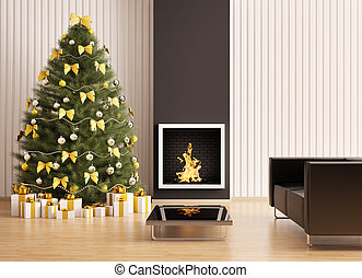 Christmas fir tree in the modern room with fireplace...
