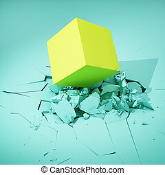 Cube hits surface and destroys it. Colorful concept. 3D...