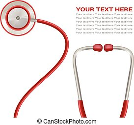 Red Stethoscope Isolated On A White Background. Realistic Vector Illustration.