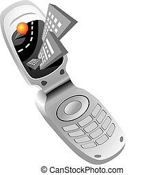Isolated mobile phone navigator icon