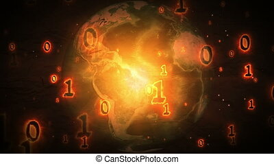 Burning binary code numbers flying over the Earth planet