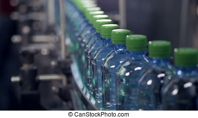 A slow moving conveyor with PET bottles ready for labeling....