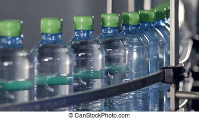 A conveyor belt full of filled and capped bottles. - Side...