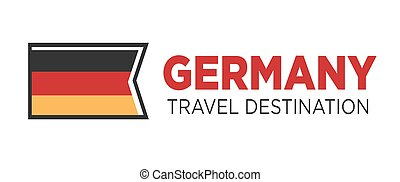 Germany travel destination poster with national flag...