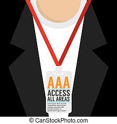 Flat Design Access All Area Staff Card Vector Illustration