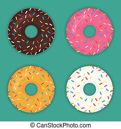Donuts set vector icon modern flat illustration