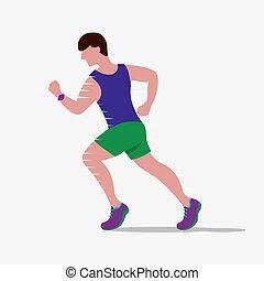 Speedy Male Runner Vector Illustration