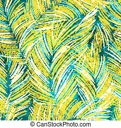 Tropical leaves seamless pattern with texture