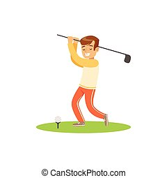 Smiling golf player hitting the ball vector Illustration...