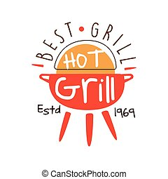 Best hot grill estd 1969 logo template hand drawn colorful...