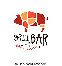 Grill bar best food estd 1969 logo template hand drawn...