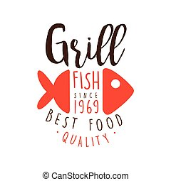 Grill fish since 1969 logo template hand drawn colorful...
