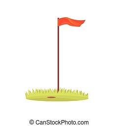 Red golf flag, golf sport equipment cartoon vector...