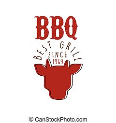 BBQ best grill since 1969 logo template hand drawn colorful...