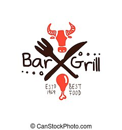 Grill bar, best food estd 1969 logo template hand drawn...