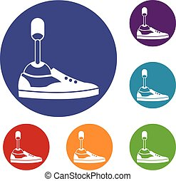 Prosthetic leg icons set in flat circle reb, blue and green...