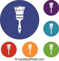 Paint brush icons set