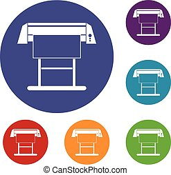 Large format inkjet printer icons set in flat circle reb,...