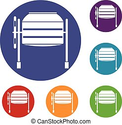 Concrete mixer icons set in flat circle reb, blue and green...