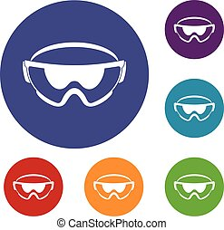 Safety glasses icons set in flat circle reb, blue and green...