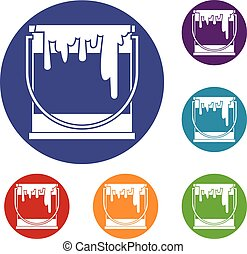 Paint can icons set in flat circle reb, blue and green color...