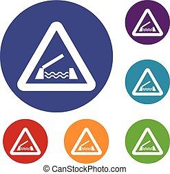Lifting bridge warning sign icons set in flat circle reb,...