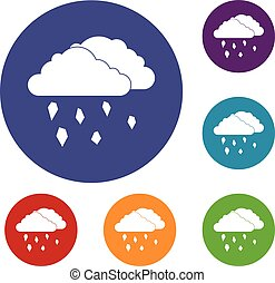 Clouds and hail icons set in flat circle reb, blue and green...
