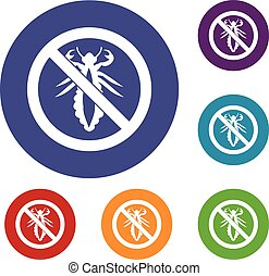 No louse sign icons set in flat circle reb, blue and green...