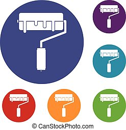 Paint roller with paint icons set in flat circle reb, blue...