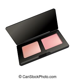 Makeup cosmetics rouge blusher in box vector icon