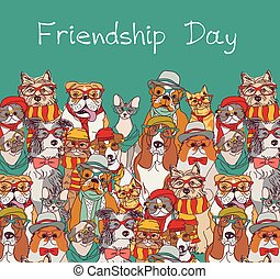 Group fashion best friends cats and dogs fun animals card and sky.