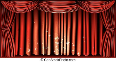 Large red curtain