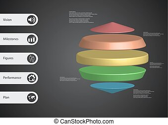 3D illustration infographic template with three cylinders...